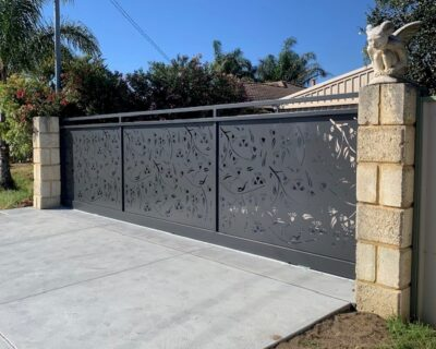 Sliding gate with laser cut panels, powder coated